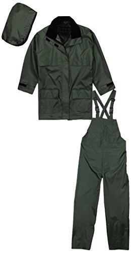 Terra 11-2900-GL 3-Piece Heavy Duty Nylon Rainsuit, Large, Green
