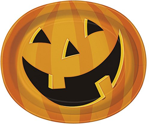 Smiling Pumpkin Halloween Oval Paper Plates, 8ct -