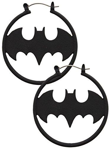 Batman Matte Black Fashion 1.5'' Hoop Earring Pair -
