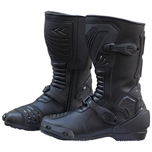 (Motorcycle Riding Waterproof Leather Anti-Skid Sports Gear Outdoor Racing Boots (10) Black)
