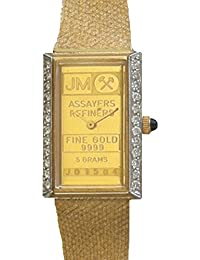 "Johnson Matthey ""One of a Kind"" 14K Gold 5 Gram Ingot Ladies Watch With .50 ct Diamonds"