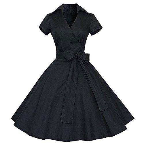Pinkyee - Vestido - trapecio - para mujer negro