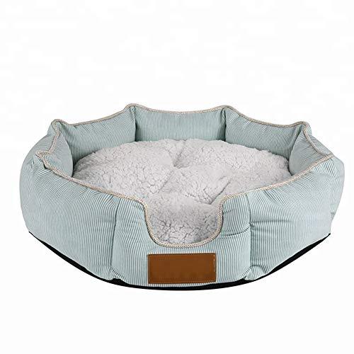 Casa para mascotas, perrera lavable a máquina, cama redonda octagonal para mascotas, gato y perro, almohadilla de confort...