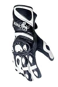 Protect the King Astro Premium Leather Gauntlet Motorcycle Sport Biker Gloves (Medium)