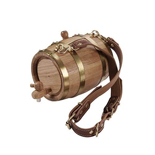 - KegWorks St. Bernard Dog Collar Wood Rescue Barrel - Brass Bands - 1 Liter Capacity