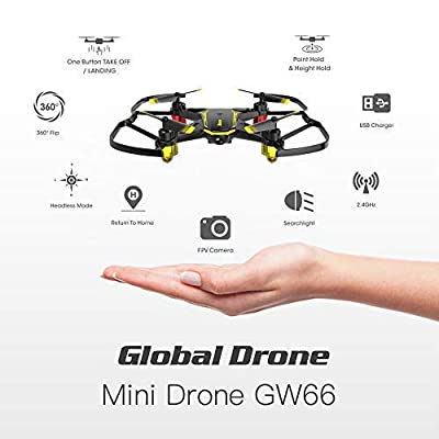 Quadcopter Drones with Camera, Global Drone GW66, Nano Quadcopter with Camera Live Video, Altitude Hold, 3D Flips, Headless Mode, Easy to Play, Mini Drones for Kids and Beginners from Globalwin Toys