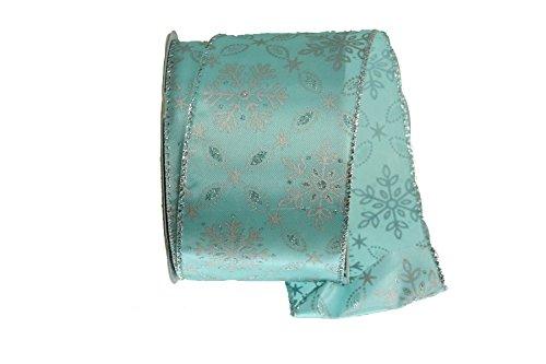 (Renaissance 2000 17477 Satin Glitter Snowflake Fabric Ribbon, Teal/Silver)