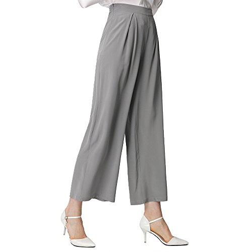 (LilySilk Silk Dress Pants for Women Wide Leg Pants Pure Real Silk 18MM Soft Breathable Cool for Summer Classy Grey Small)