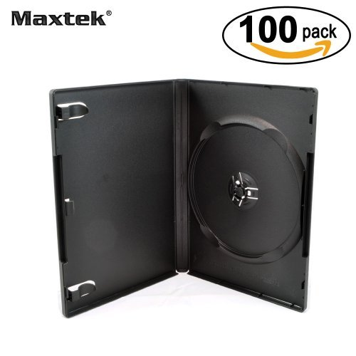 Maxtek 100 Pack estándar 14 mm, Color Negro Signle Disco DVD Cases con Funda Transparente, Exterior máquina Pack Grado,...