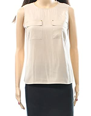 Calvin Klein Womens Medium Petite Pocket-Front Blouse Beige PM