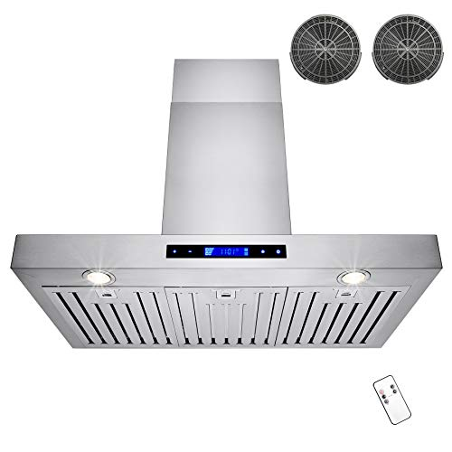 GOLDEN VANTAGE 36' Wall Mount Stainless Steel Range Hood With Remote and Carbon Filters