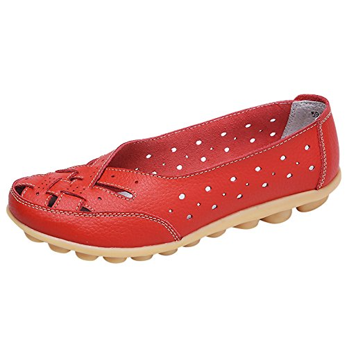 Women Moccasin Driving Shoes Casual Solid Leather Loafer and Slip On Boat Flats Red