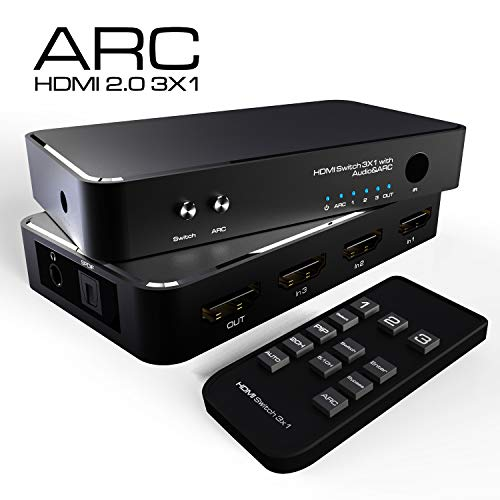NewBEP HDMI Switch 3x1,NewBEP HDMI 2.0 Switcher Box with PIP/SPDIF/3.5MM Audio/ARC,Include IR Remote, Support 4K@60Hz 3D HDCP 1.4, Compatible with MacBook Xbox PS4 Roku DVD Fire TV price tips cheap