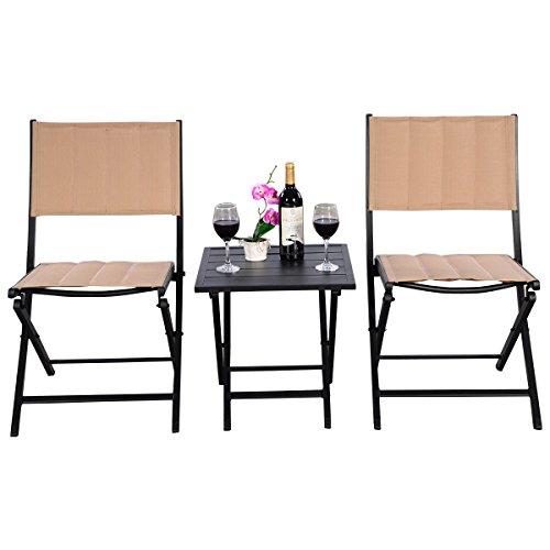 Square Iron Table Folding Patio - GJH One Outdoor Patio Folding Square Table Chairs Set Bistro Garden Furniture 3PCS