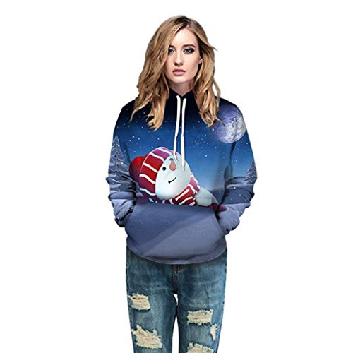 AIUSD Women Blouse and Tops, Women Christmas 3D Print Pullover Long Sleeves Hooded Casual Loose Pullover Sweatshirt Blouse with Pocket Plus Size Tops Women Coats and Jackets Big Sales (Furniture White Garden Uk Metal)