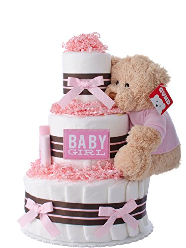 Diaper Cake - Darling Girl Theme Handmade By Lil Baby Cakes - Baby Girl Gift - Makes a Great Baby Shower Centerpiece by Lil' Baby Cakes