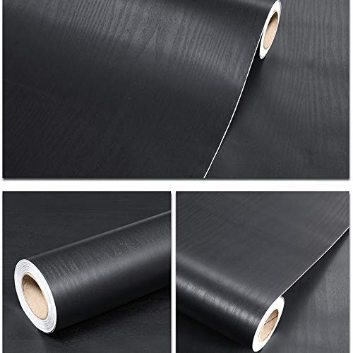 (Wallpapers Black Wood Contact Peel and Stick Easy to Clean 17.7
