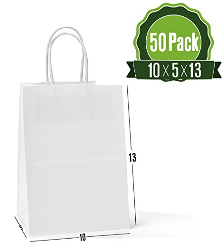 - White Kraft Paper Gift Bags with Handles, 50Pc 10x5x13 Shopping, Packaging, Retail, Party, Craft, Gifts, Wedding, Recycled, Merchandise Bag