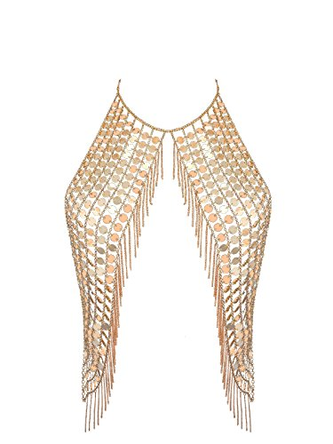 (Ingemark Sexy Harness Waist Bikini Chain Bra Body Chain Shoulder Necklace for Women Gold Silver Sequin (Golden))