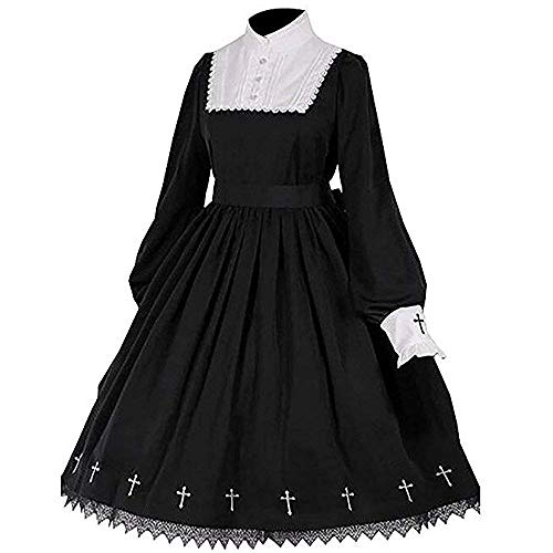 Tong Gu Women Lolita Gothic Dress Vintage Cross Embroidery Long Sleeve Princess Dress Black