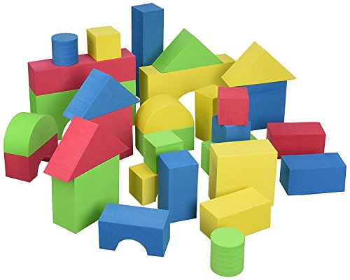 Edushape Educolor Building Blocks, 30 Piece Foam Wooden Blocks