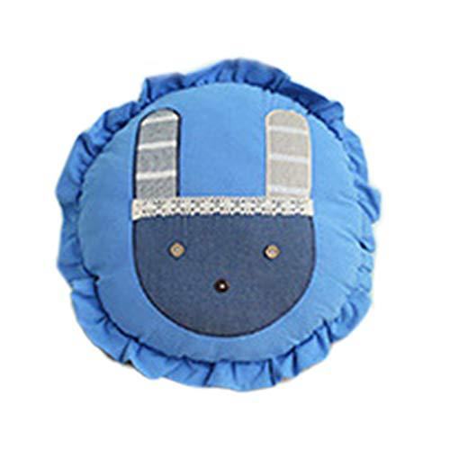 EA-STONE Thicken Round Seat Pads, Cartoon Rabbit Applique Padded Cushion Ruffled Trim Children Cotton Throw Pillow (45x13cm),Royal Blue