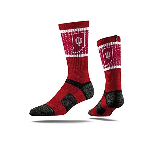 Strideline NCAA Indiana Hoosiers Premium Athletic Crew Socks, Crimson, One SIze