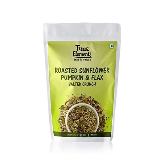 True Elements Harippa Roasted Sunflower, Pumpkin & Flax Seeds (Salted Crunch), 125Gm