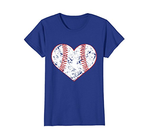 Classic Triple Heart (Womens Baseball Heart T Shirt, Gift for Softball Mom or Dad, Team XL Royal Blue)