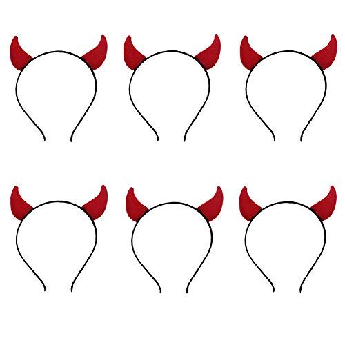 ANDES Halloween Red Devil Horns Headband for Costume Party Pack of 6 (H) ()