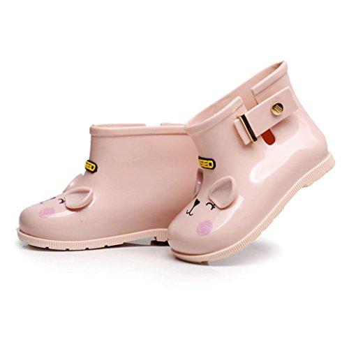 TPulling Mode Junge Und Mädchen Herbst Und Winter Kinder Cartoon Katze Skid Wasserdicht Regen Stiefel Regen Stiefel Lässige Schuhe Rosa