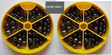 + gratis Petri Heil Aufkleber 1,0gr, 1,25gr, 1,8gr und 2,9gr Set: 2 Dosen Bleischrot Sortimentsdose /á 120gr
