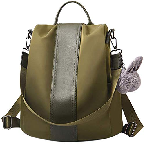 Waterproof Backpack Nylon Backpack for Girls Small School Bags Casual Travel Tote Top Handle Shoulder Bags Antitheft Rucksack (Army Green) ()