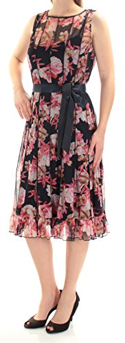 Jessica Howard Womens Floral Print Sleeveless Cocktail Dress Navy 12
