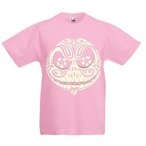 (T Shirts for Kids The Skull Face -The Nightmare - Scary Halloween Night (12-13 Years Pink Multi)
