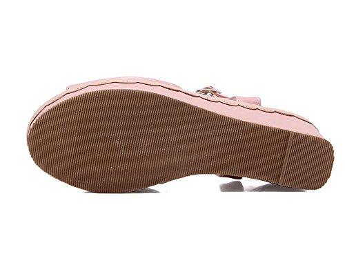 Sandales Boucle Femme à d'orteil AgooLar Haut Ouverture Couleur Unie Talon Rose GMBLB014161 qzx16U