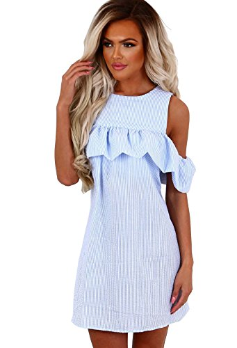 Mintsnow Women Casual Off Shoulder Striped Mini Dress Ruffles Short Dresses,Light Blue,Small