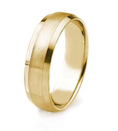 14k Gold Men's Wedding Band with Satin Finish and Polished Beveled Edges Edges (7mm)