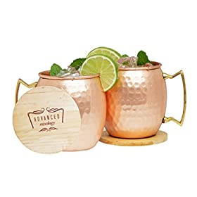 Advanced Mixology Moscow Mule 100% Pure Copper Mugs (Set of 2)- 16 Ounce with 2 Artisan Hand Crafted Wooden Coasters