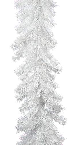 EST. LEE DISPLAY L D 1902 White Christmas Garland Hand-Made Artificial Tinsel Brush Rustic Holiday 6ft x 12in White Brush Seasonal Garland Decor -