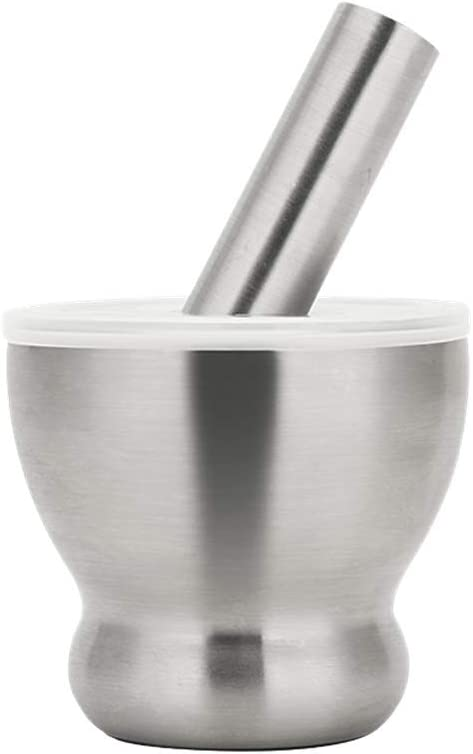 WEZVIX 18/8 Stainless Steel Mortar and Pestle Set Large Size Masher Spice Grinder Pill Crusher Spice bowl herb bowl Molcajete for Crushing Grinding Mixing