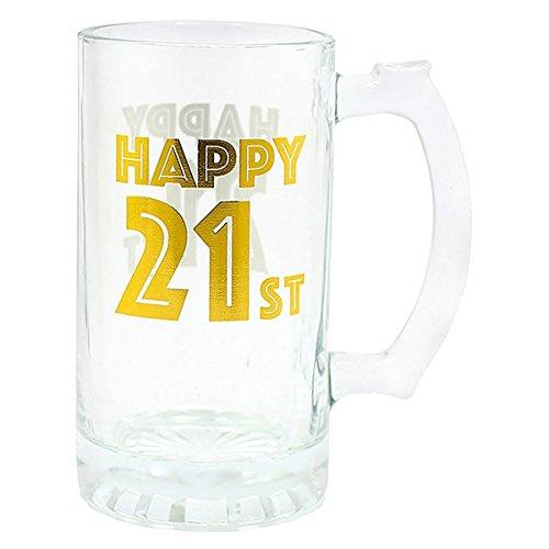 happy 21st 21 cumpleaños cerveza de cristal - oro arte ...