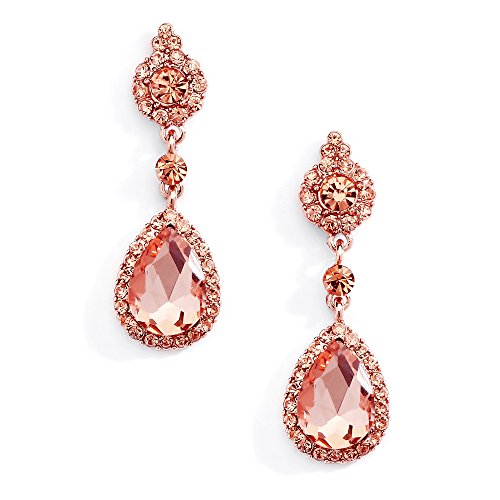 Mariell Rose Gold Crystal Teardrop Chandelier Dangle Earrings for Weddings, Prom, Pageant & Bridesmaids