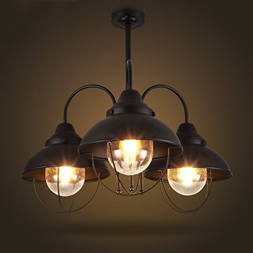 Cheap BAYCHEER HL410583 Industrial Retro Vintage style 3 Light 1 Tier Bowl Chandelier Pendant Light Lampe use E26/27 Bulb for Warehouse or Barn