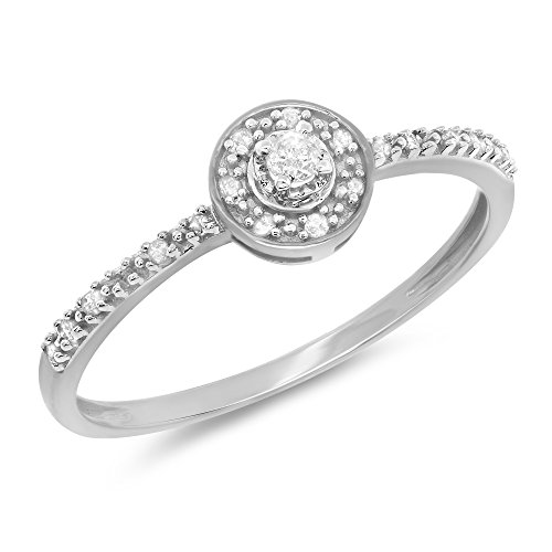 0.09 Carat (ctw) 10k Gold Round Cut Diamond Ladies Petite Engagement Bridal Halo Promise Ring 1/10 CT - White-gold, Size 8.5