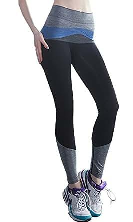 ABUSA Women's High Waist Seamless Tights Compression Leggings Small Black&Blue