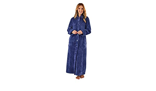370c21d35a Slenderella HC8317 Women s Navy Blue Long Sleeve Dressing Gown Robe Sml at  Amazon Women s Clothing store