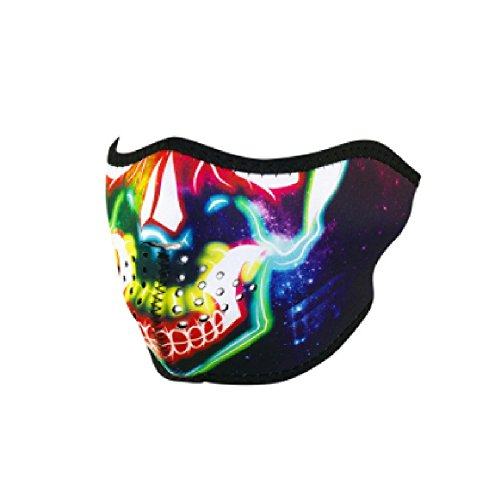 Electric Run Costumes (Neon Rainbow Green Red Yellow Blue Orange White Electric Skull Reversible to Solid Black Neoprene Half Face Mask Adjustable Strap)
