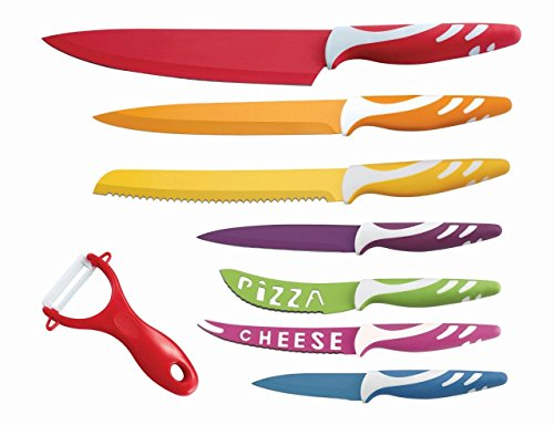 Lightahead 8 pc Colorful Knife set Stainless Steel having Chef, Bread, Slicer, Utility,Paring, Cheese, Pizza Knife, Peeler - Multi color Sharp Vibrant Stylish Kitchen Knives in Gift Box