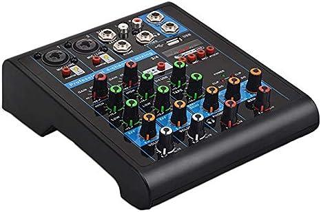 Semoic Mixer Professionale A 4 Canali Mixaggio Audio Console DJ con Effetto Riverbero per Karaoke da Casa USB Live Stage KTV